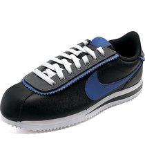tenis lifestyle negro-azul nike cortez basic se