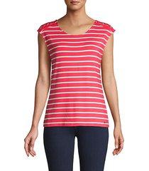 striped cap-sleeve top