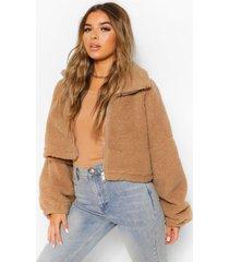 petite oversized faux fur teddy bomberjack, mink