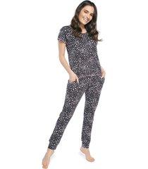 pijama feminino com bolso e punho oncinha colors - branco/onã§a/preto/rosa - feminino - viscose - dafiti