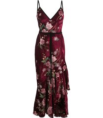 marchesa notte sleeveless floral embroidered velvety dress - purple