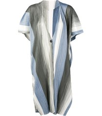 pleats please issey miyake micro pleated long cardigan - blue