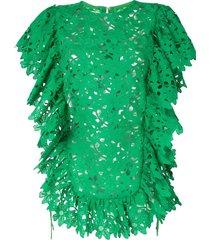 bambah kelly ruffled lace tunic top - green