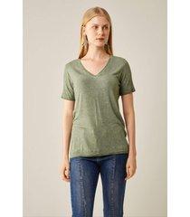 blusas e camisas sacada t-shirt malha básica dec v verde
