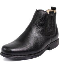 bota botina capiau confortavel couro preto