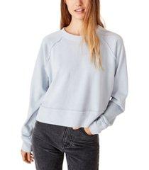 cotton on aria raw edge raglan crew sweatshirt