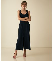 reiss amika - bow back detail jumpsuit in navy, womens, size 10