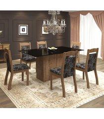 mesa de jantar 6 lugares valsa dover/cobre/preto - mobilarte móveis