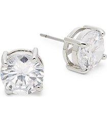 basic program silvertone & crystal round stud earrings