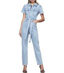 women's good american fit for success belted denim jumpsuit, size 2 - blue