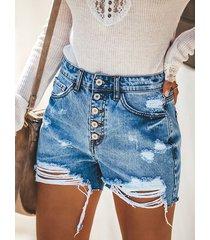 shorts de cintura alta con cinco bolsillos clásicos