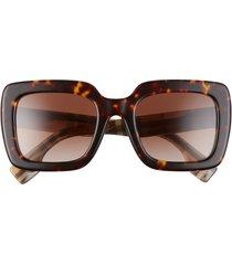 women's burberry 52mm square sunglasses - dark havana/ brown gradient