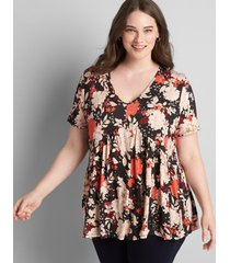 lane bryant women's v-neck babydoll max swing tee coral floral