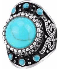 anello da dito vintage blu turchese cristallo geometrico argento antico anelli gioielli etnici per gli uomini