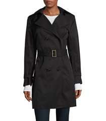 cole haan women's double breasted hood trench coat - dune - size m