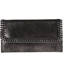 stella mccartney gunmetal fux leather falabella wallet