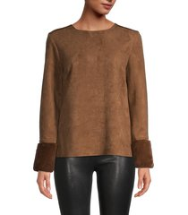 t tahari women's faux fur & faux suede top - black - size xl