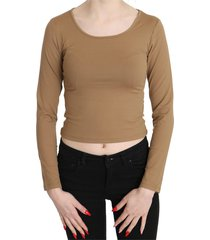 round neck long sleeve slim crop top blouse