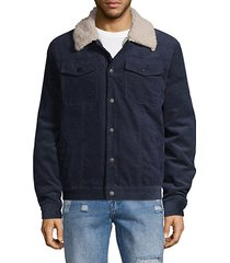 faux shearling-collar corduroy jacket