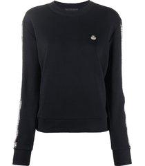philipp plein rhinestone-embellished stripe sweatshirt - black
