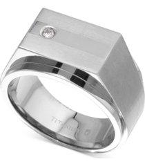men's diamond accent ring in titanium