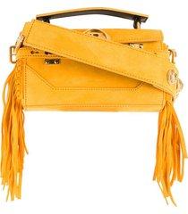 balmain bbuzz baguette fringed shoulder bag - yellow