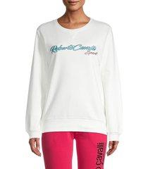 roberto cavalli sport women's logo cotton sweatshirt - bright white - size m