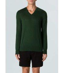 sweater gola v merino sweater masc gola v merino-verde escuro