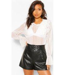 crinkle dobby mesh blouse applique collar, white
