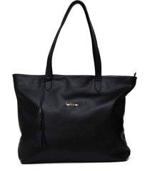 bolsa   sacola de couro via focco 8017 preta