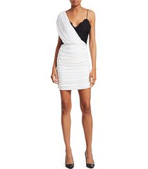 bianca ruched one-shoulder stretch silk mini dress