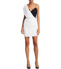 bianca ruched one-shoulder stretch silk mini dress