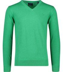 gant trui v-hals katoen groen