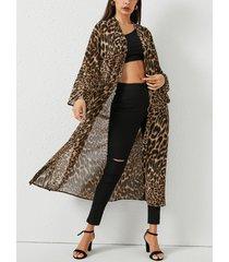 yoins abrigo largo de leopardo con frente abierto y transparente
