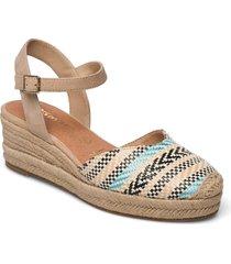 woms sling back sandalette med klack espadrilles brun tamaris