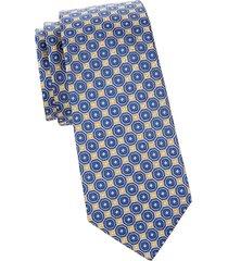 canali men's floral-print silk tie - blue