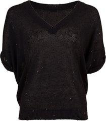 deep v-neck paillette sweater
