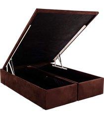 base cama box baú camurça marrom casal 138x188x39 ortobom - tricae