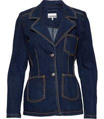light stretch denim blazers casual blazers blå ganni