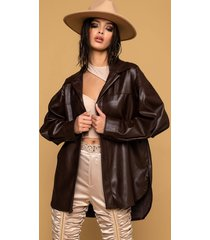 akira out my way faux leather button up blouse