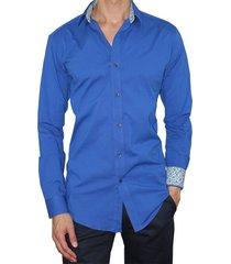 camisa ultra slim fit elástica aranzazu bernard azul royal