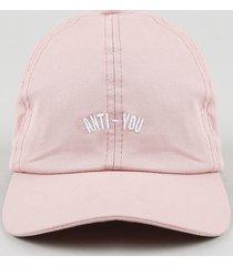"""boné unissex aba curva com bordado """"anti-you"""" rosa"""