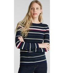 sweater con textura de rayas azul esprit