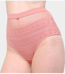 calcinha colcci hot pants tela cintura alta feminina - feminino