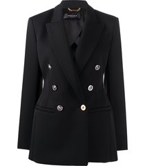 versace contrast-hardware double-breasted blazer - black