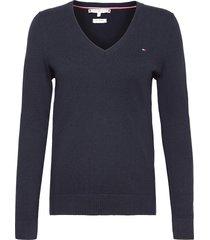 heritage v-nk sweater gebreide trui blauw tommy hilfiger