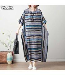 zanzea vestido de playa suelto floral a rayas de verano para mujer camisa a media pierna para mujer -azul