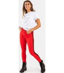 hallie racer stripe pants - red