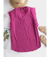 yoins camiseta sin mangas con cuello alto y dobladillo de encaje rosa