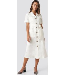trendyol buttoned midi dress - white